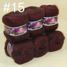 Sale 6x50gr balls NEW MOHAIR HAND Crochet KNITTING YARN Cashmere Silk Wine 15