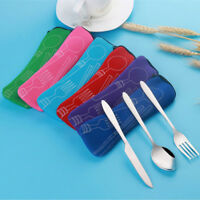 New 3PCS Stainless Steel Knife Fork Spoon Bag Travel Camping Cutlery Portable