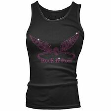 Twisted Envy Rock And Roll Skull Wings Rhinestone Tank Top