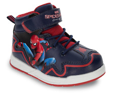 Spiderman Boy's High Top Hiker Boot Style Shoes Navy Red NWT 7 8 9 10 11