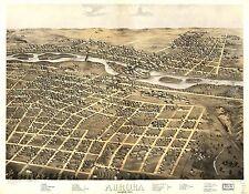 1867 Aurora birds eye view panoramic Illinois map Genealogy atlas poster Il 2