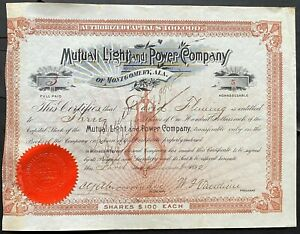 MUTUAL LIGHT & POWER CO of MONTGOMERY, ALABAMA Stock 1892 Light Bulb VIG Cert #5
