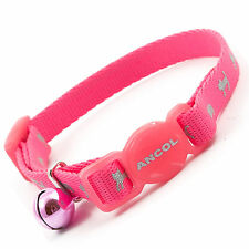 ANCOL HI-VIZ SAFETY BUCKLE KITTEN HIGH VISIBILITY COLLAR & BELL IN BRIGHT PINK