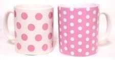 Rosa puntos y manchas Tazas Conjunto de 2 Rosa y Blanco de la Porcelana Tazas decoradas en Reino Unido