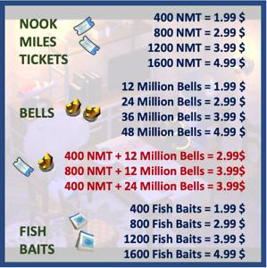 Nook Miles Tickets, Bells, Fish Baits