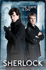 "SHERLOCK: THE GAME IS ON - BENEDICT CUMBERBATCH 36 x 24"" POSTER BBC TV SERIES"