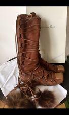 Christian Dior Eskimo Bohemian Style Wrap Around Brown Suede Zip Up Boots EU 40