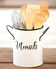 Rustic White Enamel Utensil Cutlery Caddy Primitive Organizer Storage Farmhouse