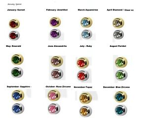 Surgical  Steel Ear Piercing Stud Earrings Birthstone Colour CZ Crystal Gem