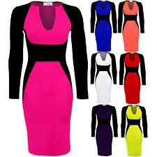 Ladies Long Sleeve V neck Black Contrast Midi Knee Length Womens Bodycon Dress