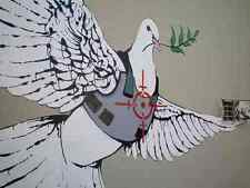 Banksy dove in bullet proof jacket A3 Box Canvas Print