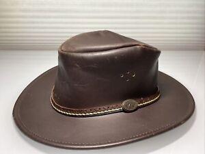 Kakadu Traders BUSHRANGER Hat Brown Genuine Leather Australia Man's Size M