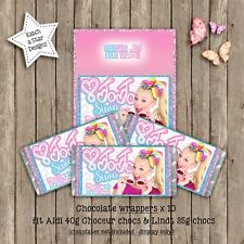JOJO SIWA BIRTHDAY PARTY PERSONALISED CHOCOLATE WRAPPERS x10