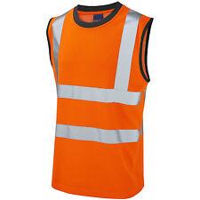 Leo Hi Vis Sleeveless Orange T-Shirt Vest Top Tank Muscle Top Hi-Viz Rail GO/RT