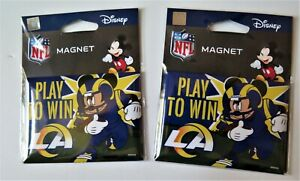 """TWO (2) LOS ANGELES RAMS, 2.5"""" X 3.5"""" METAL MAGNETS FROM WINCRAFT"""