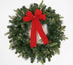 """Bethlehem Lights 26"""" Green Overlit Wreath With Clear Lights"""