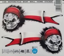 Auto Motorcycle Polish Skull Pirate with Flag Decal Sticker (Set of 2)