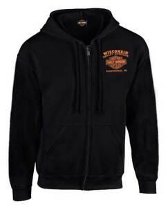 Harley-Davidson Men's Custom Freedom Fleece Full-Zip Hoodie - Solid Black