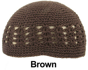 KUFI Crochet Beanie Skull Cap Knit Hat Muslim Islamic Prayer New 100% Cotton