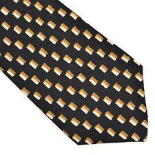 Hermes Paris Krawatte Tie 129 SA Schmal Skinny Schwarz Black Gelb Yellow France