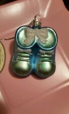Blown Glass Blue Boys Booties Ornament Midwest CBK New