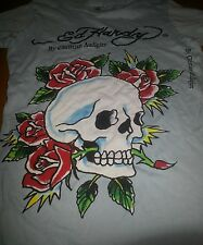 "NWT Woman's XS ""Ed Hardy"" by Christian Audigier Light Blue Skull Rose T-Shirt"