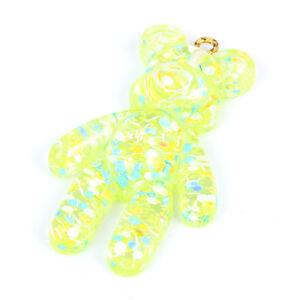5Pcs Gold/Blue Resin Little Bear Charm Pendant DIY Necklace Jewelry Making Gift