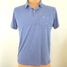 Steel & Jelly Men's Polo Shirt Medium 1 Button Blue .Cotton Poly Blend