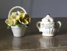 "Vintage 3"" Miniature Porcelain- Sweeter Than Sugar Sugar Bowl & Basket Flowers"