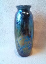 "VINTAGE BRITISH ROYAL BRIERLEY STUDIO GLASS BLUE IRIDESCENT VASE 7.5"" TALL"