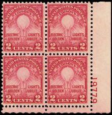 655, MNH 2¢ Edison Light Plate Block of Four Stamps Cat $50.00 - Stuart Katz