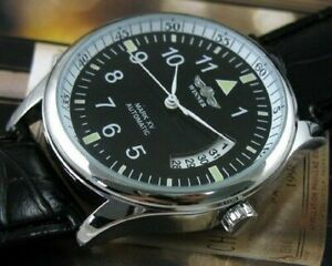 Men's Self-winding Watch Automatic Mechanical Date Day Black Leather Sport Watch