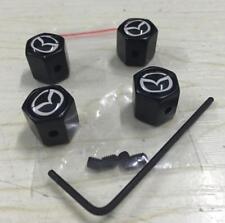 1Set Black Anti-theft Car Valve Stems Caps Tire Dust Covers Logo For Mazda