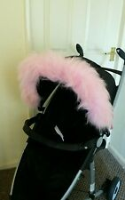 Pram Pushchair Pink faux fur Hood Trim, fits any hood Mothercare Silver Cross
