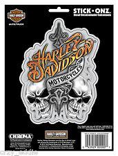HARLEY DAVIDSON SMOKING SKULLS DECAL ** MADE IN USA ** BIKER MOTORCYCLE STICKER