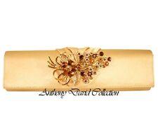 Anthony David Gold Satin Evening Bag Handbag Purse with Swarovski Crystals ADD61