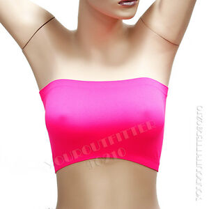 New Women's Basic Stretch Strapless Tube Bra Top Seamless Bandeau Fits Fitness