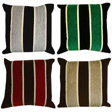 """STRIPED Heavyweight Chenille Filled Cushions or Cushion Covers 18x18"""""""