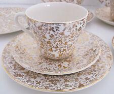 VINTAGE Midwinter porcelon BURSLEM ENGLAND PESANTI ORO Chintz Tè Set Matrimonio