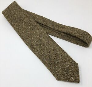 Ermenegildo Zega Brown Donegal Wool Tie Made in Italy 3.25""