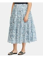 Lauren by RALPH LAUREN Womens Navy Floral MIDI Accordion Pleat Skirt 16W
