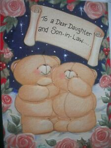 To a Dear DAUGHTER & SON-IN-LAW (Bears & Roses) Forever Friends Christmas Card