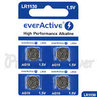 4 x everActive AG10 LR54 Alkaline batteries LR1130 189 389 1.5V GREAT VALUE