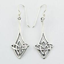 Silver earrings hook drop 925 sterling celtic knot 40mm height Diamond Shaped