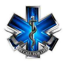 EMS Logo (Z2) Blue Flames Vinyl Decal Sticker Car/Truck Laptop/Netbook Window