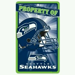 """SEATTLE SEAHAWKS NFL FOOTBALL """"Property Of"""" sign 7.25"""" x 12"""" Man Cave FREE SHIP"""