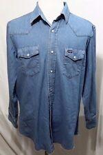 Vintage Wrangler Denim Blue Jean Pearl Snap Distressed Rockabilly Shirt Men L