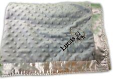 CRIB CLOUDS BLUE BABY BLANKET MINKY POPCORN SATIN TRIM PERSONALIZED LUCAS B-26