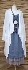 LAGENLOOK AMAZING WATERFALL SOFT 2 POCKETS LONG JACKET***WHITE*** SIZE L/XL