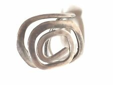 Abstract Silver Tone Vintage Ring Hand Made Hand Hammered